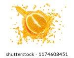 juice or liquid splashing with... | Shutterstock . vector #1174608451