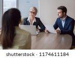 businesswoman and businessman...   Shutterstock . vector #1174611184