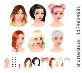 fashion female avatars. 6... | Shutterstock .eps vector #1174614631