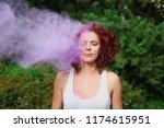 attractive caucasian model with ... | Shutterstock . vector #1174615951