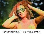 charming caucasian woman in... | Shutterstock . vector #1174615954