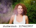smiling caucasian woman with... | Shutterstock . vector #1174615957