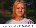 awesome caucasian blonde girl... | Shutterstock . vector #1174616311