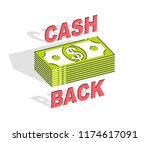 cash back concept  cash money... | Shutterstock .eps vector #1174617091