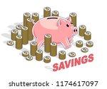 personal savings concept  piggy ... | Shutterstock .eps vector #1174617097