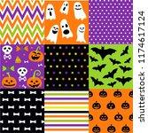 halloween set  patterns | Shutterstock .eps vector #1174617124