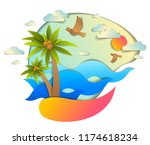 beautiful seascape with sea...   Shutterstock .eps vector #1174618234