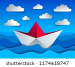 origami paper ship toy swimming ... | Shutterstock .eps vector #1174618747