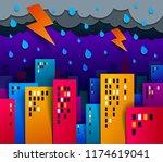 cityscape under thunderstorm... | Shutterstock .eps vector #1174619041