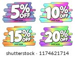 set sale tags  discount banners ... | Shutterstock .eps vector #1174621714