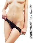 hot naked woman in black panties on white background - stock photo