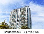one older high rise apartment... | Shutterstock . vector #117464431