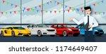 happy businessman  seller stand ... | Shutterstock .eps vector #1174649407