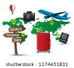 paper world tourism day tourism ... | Shutterstock .eps vector #1174651831