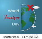 paper world tourism day tourism ... | Shutterstock .eps vector #1174651861