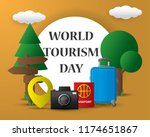 paper world tourism day tourism ... | Shutterstock .eps vector #1174651867