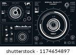 futuristic black and white hud  ... | Shutterstock .eps vector #1174654897