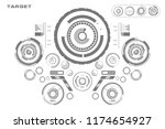 futuristic black and white hud  ... | Shutterstock .eps vector #1174654927