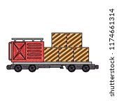 freight train wagon with... | Shutterstock .eps vector #1174661314