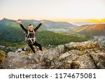 a young traveler sits on a...   Shutterstock . vector #1174675081