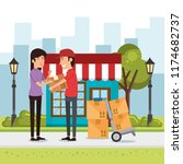 delivery worker with cart boxes ... | Shutterstock .eps vector #1174682737