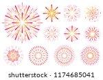 set of festive colored... | Shutterstock .eps vector #1174685041