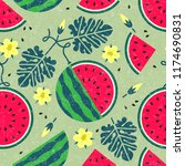 ripe watermelon seamless... | Shutterstock .eps vector #1174690831