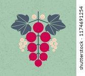 ripe red currant illustration.... | Shutterstock .eps vector #1174691254