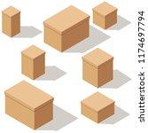 set of packing craft cardboard... | Shutterstock .eps vector #1174697794