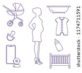 pregnant woman and goods for... | Shutterstock .eps vector #1174711591