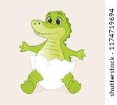 cute little crocodile hatched...   Shutterstock .eps vector #1174719694