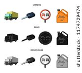 truck with awning  ignition key ... | Shutterstock .eps vector #1174729474