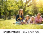 young family with children... | Shutterstock . vector #1174734721