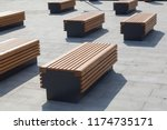 modern benches in the city... | Shutterstock . vector #1174735171