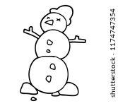 line drawing cartoon snowman | Shutterstock .eps vector #1174747354