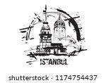 the maiden's tower  kiz kulesi  ...   Shutterstock .eps vector #1174754437