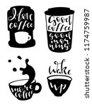 set of four coffee pictures... | Shutterstock .eps vector #1174759987