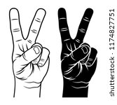Victory And Peace Gesture...