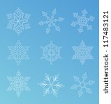 set of snowflakes | Shutterstock .eps vector #117483121