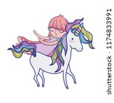 cute sweet unicorn with girl... | Shutterstock .eps vector #1174833991