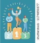 winner podium concept. voman in ... | Shutterstock .eps vector #1174850377