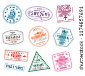 set of visa stamps for... | Shutterstock .eps vector #1174857691
