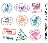 set of visa stamps for... | Shutterstock .eps vector #1174857691