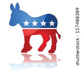 Glossy vector illustration showing the iconic United States Democrat Party symbol, a donkey with the colors of the American flag. - stock vector