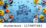 happy halloween lettering and... | Shutterstock .eps vector #1174897681