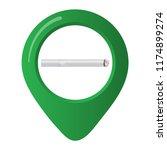 smoking area marker map pin... | Shutterstock .eps vector #1174899274