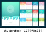 calendar 2019 trendy gradients... | Shutterstock .eps vector #1174906354