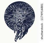 astronaut in space tattoo art.... | Shutterstock .eps vector #1174916881