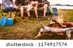 travelers camping doing picnic... | Shutterstock . vector #1174917574