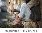 beggar is begging for food on... | Shutterstock . vector #117492781
